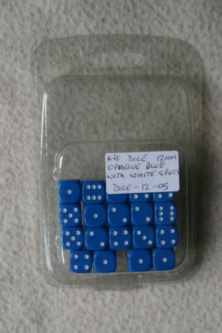 APF Dice-12-05 12mm D6 Opaque Blue with White Spots